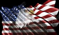 Waving American Flag Eagle Head Cloth