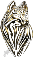 Gold Tribal Wolf