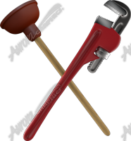 Crossed Pipe Wrench and Plunger