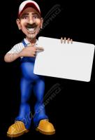 Plumberman Holding Sign Blank