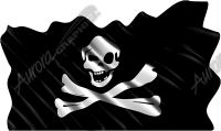 Waving Pirate Flag Crossbones Cloth