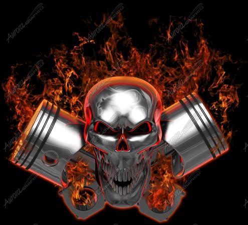 Gearhead Skull in Flames